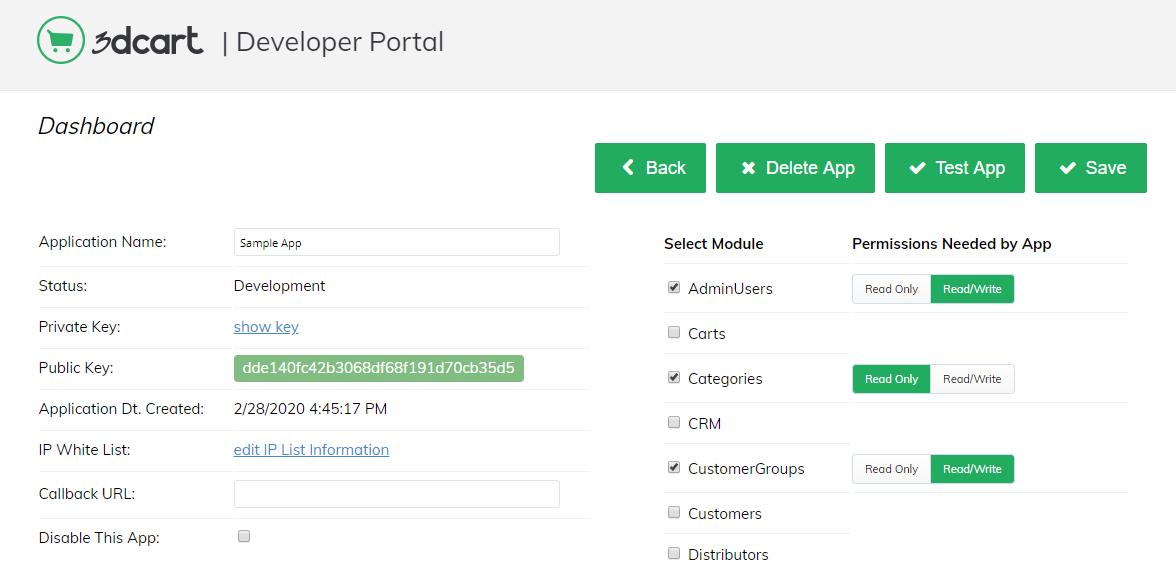 3dcart Developer Portal App Dashboard