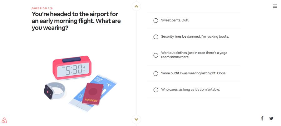 Airbnbトラベルパーソナリティクイズ