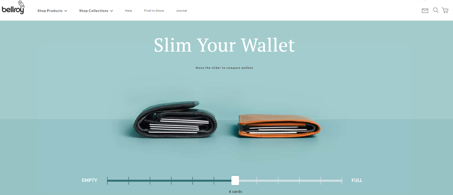 Bellroy landing page is minimalistic and has interactive elements capturing visitors attention
