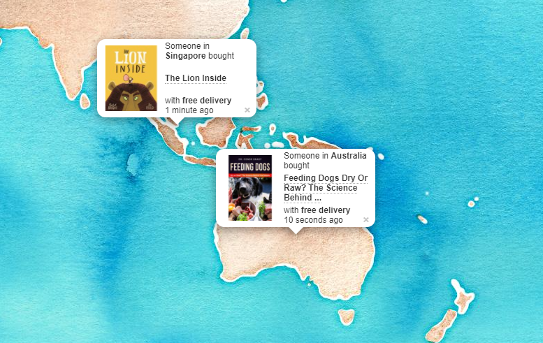 BookDepository is taking social proof to the next level with the live map of purchases that are done in real-time.