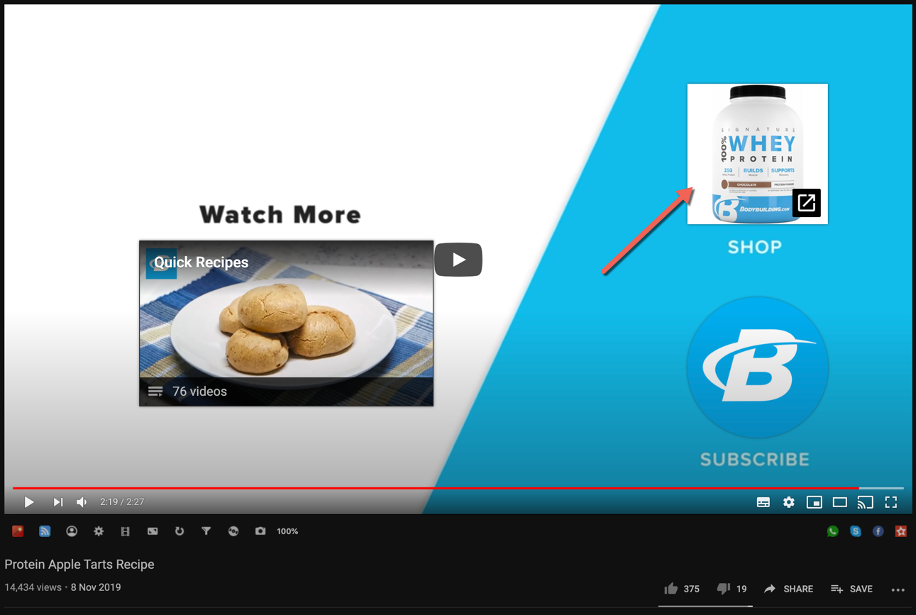 Call-to-action in YouTube end card