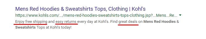Example of Kohl's Meta Description