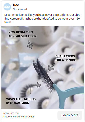 Facebook ad with features pointed out
