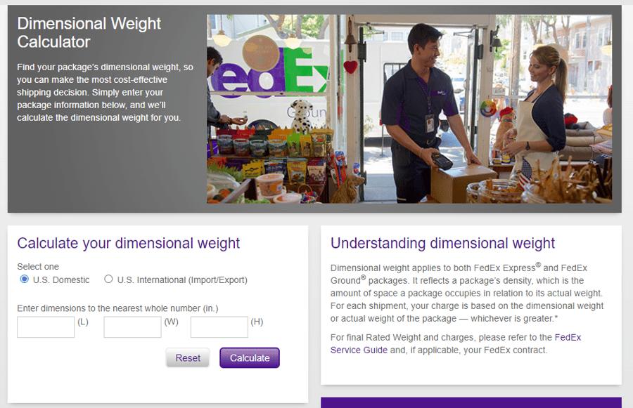FedEx Dimensional Weight Calculator