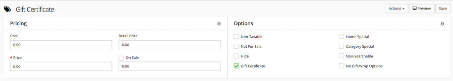 Gift certificate price fields