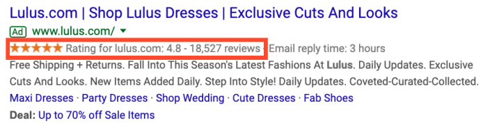 Google Ads Product Rating