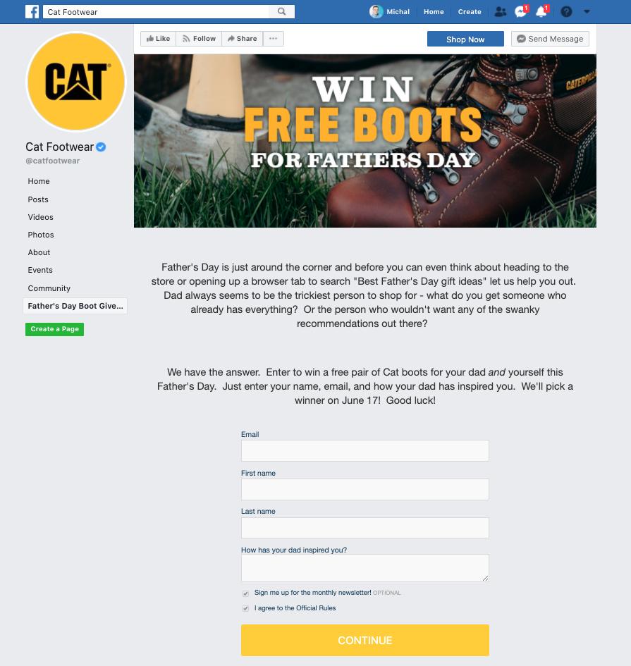 CAT Facebook signup
