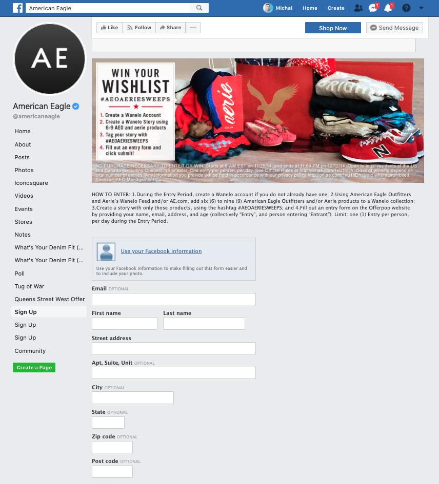 American Eagle Facebook signup