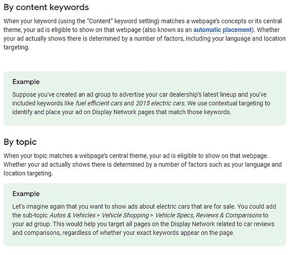 Google Contextual campaign targeting Example