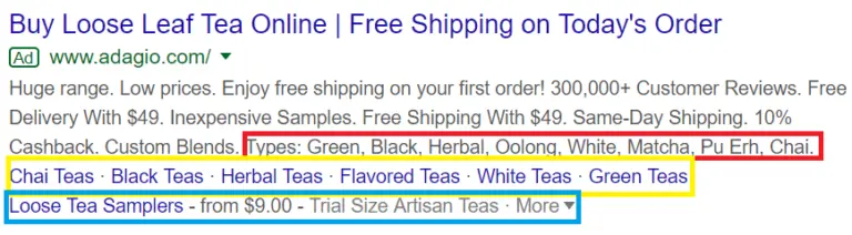 Google Shopping Ad Extension examples