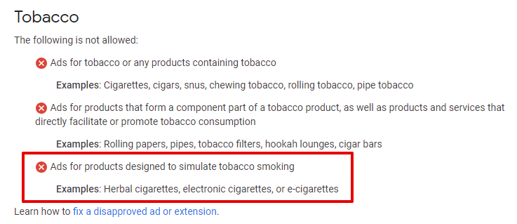Google Tobacco Policy