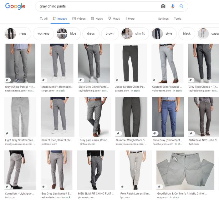 Gray chino pants Google image search results