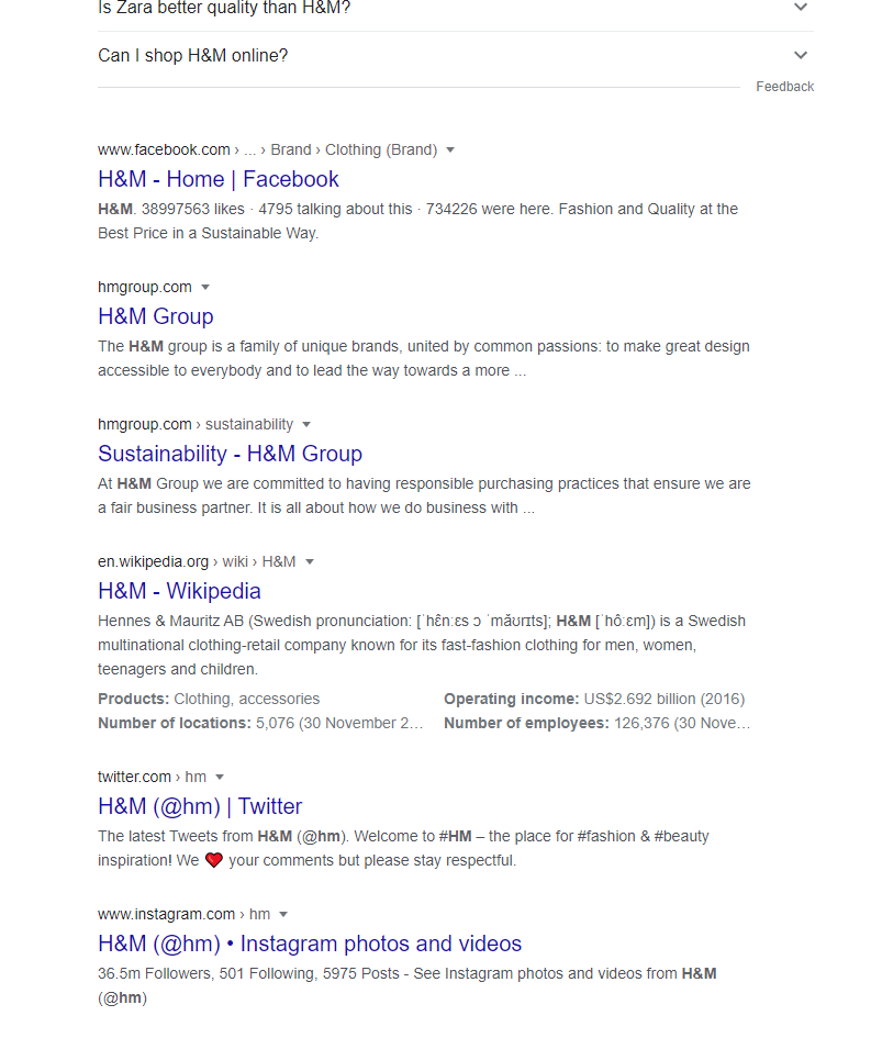 HM social profiles indexed by Google