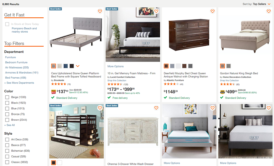 Home Depot Category with Facets