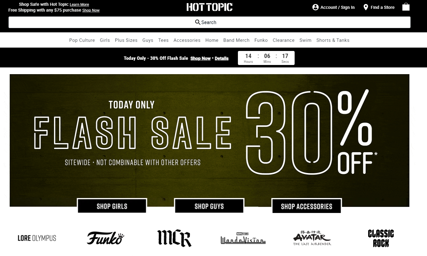 Hot Topic countdown timer