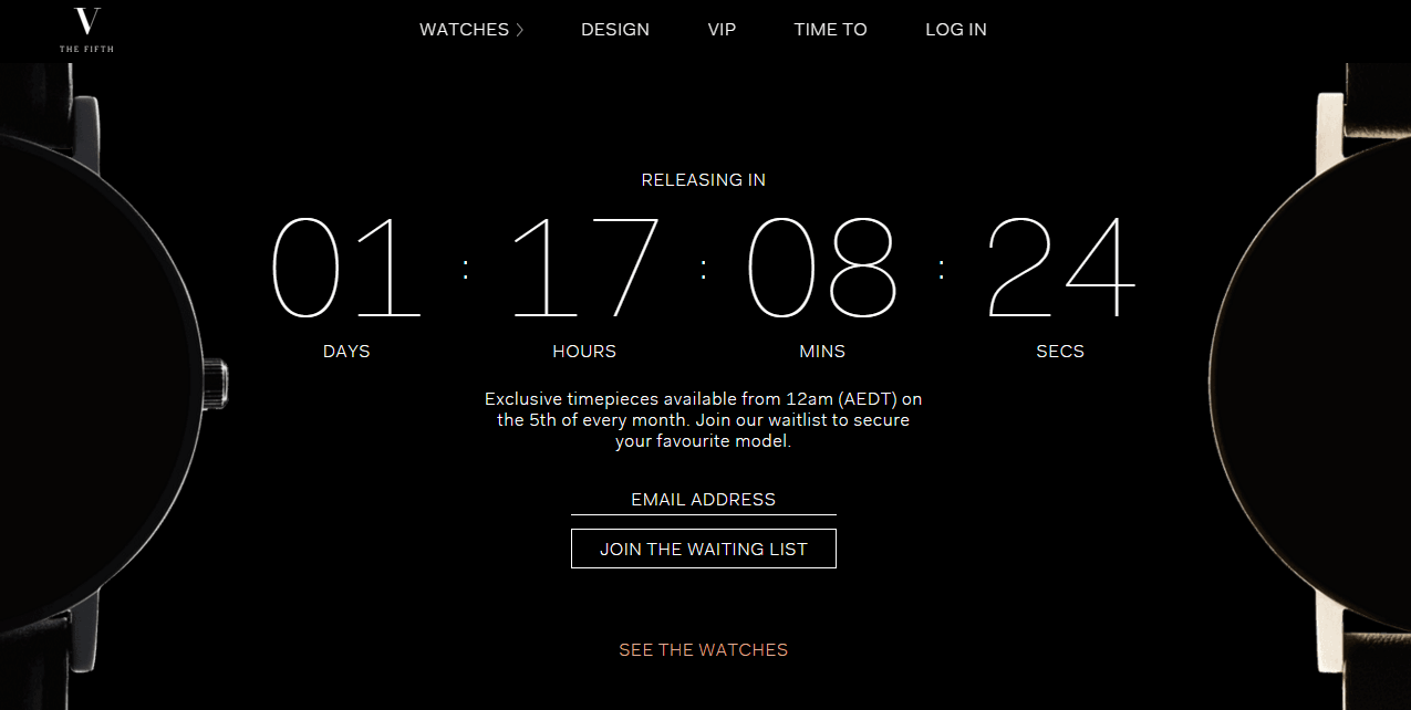 Screenshot of The Fifth Watches countdown to their next watch release