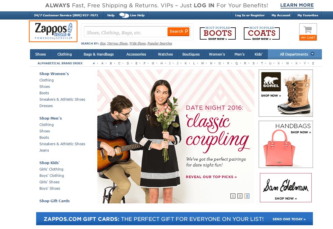 Screenshot of Zappos homepage