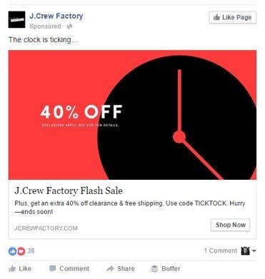 J Crew Facebook Flash Sale