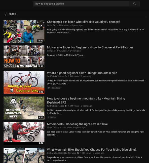 Keyword topic research on YouTube