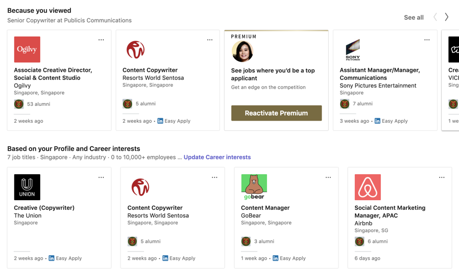 LinkedIn Job Search Recommendations