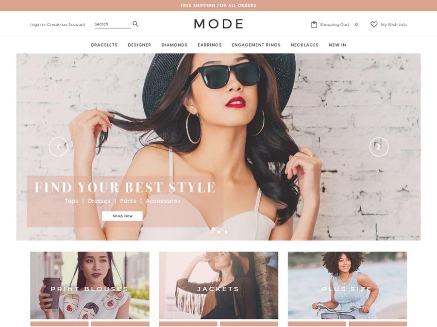 Mode apparel store theme