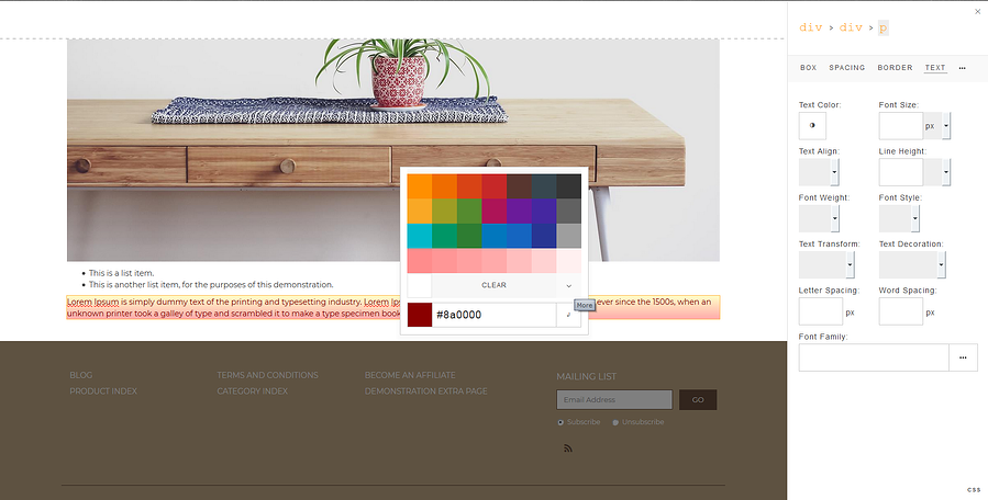 Page Editor Color Picker