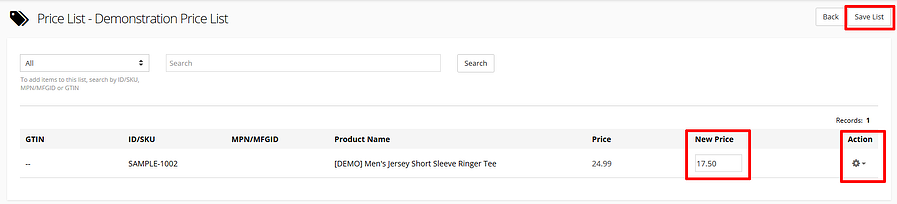 Adding products to a Customer-Specific Price List