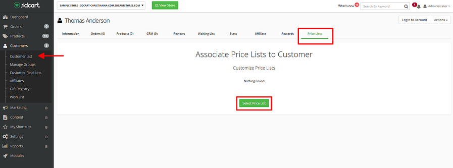 Assigning a Price List to a customer