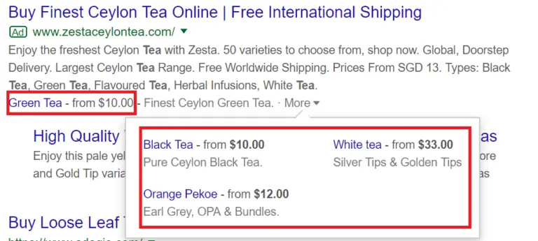 Pricing Ad Extension
