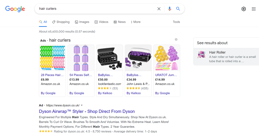 SERP results from a product search