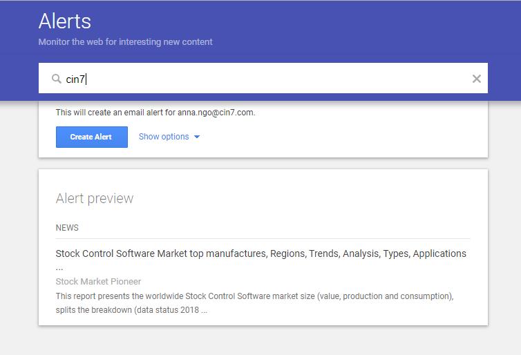 Setting Up a New Google Alert