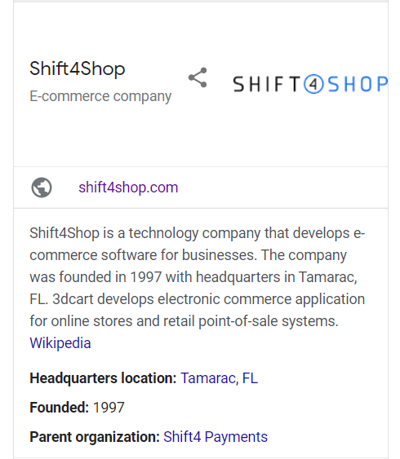 Shift4Shop organization schema