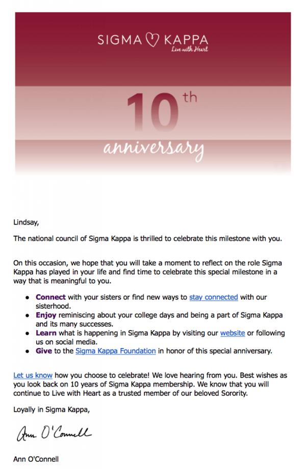 Sigma Kappa personalized email