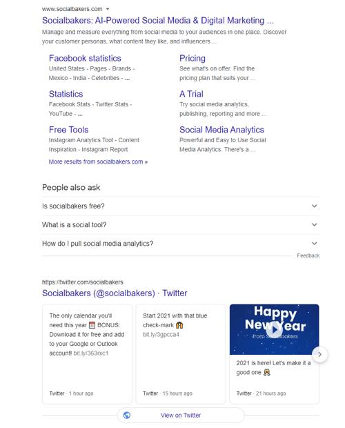 SocialBakers tweets crawled by Google