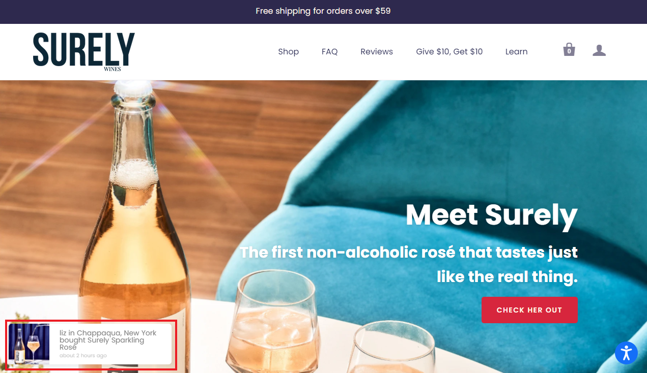 Surely Wines social proof example