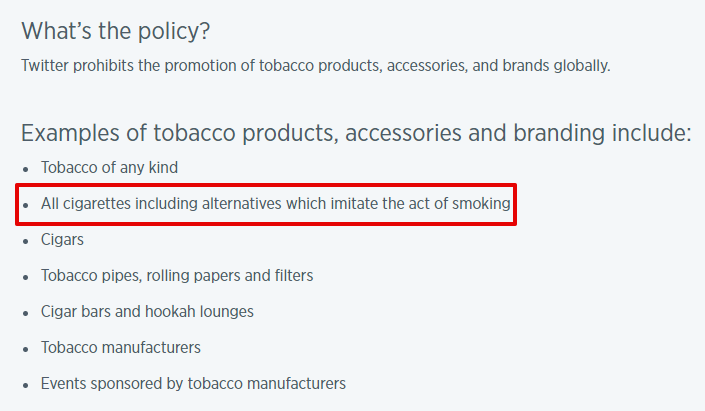 Twitter Tobacco Policy