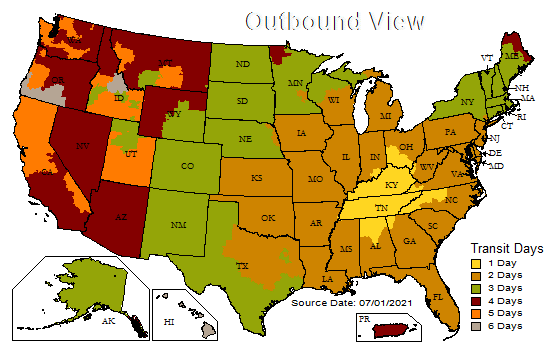 UPS shipping zones map