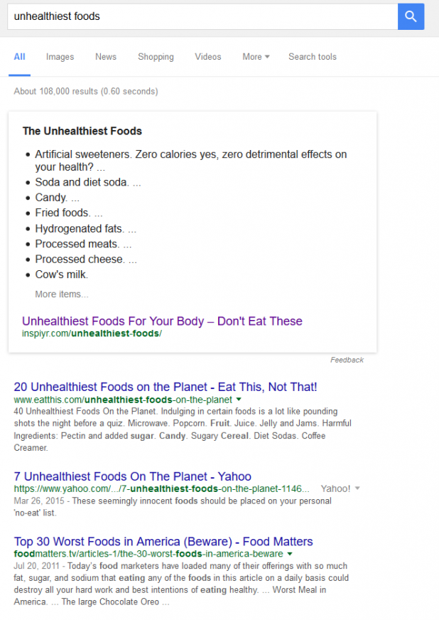 Unhealthiest Foods search result
