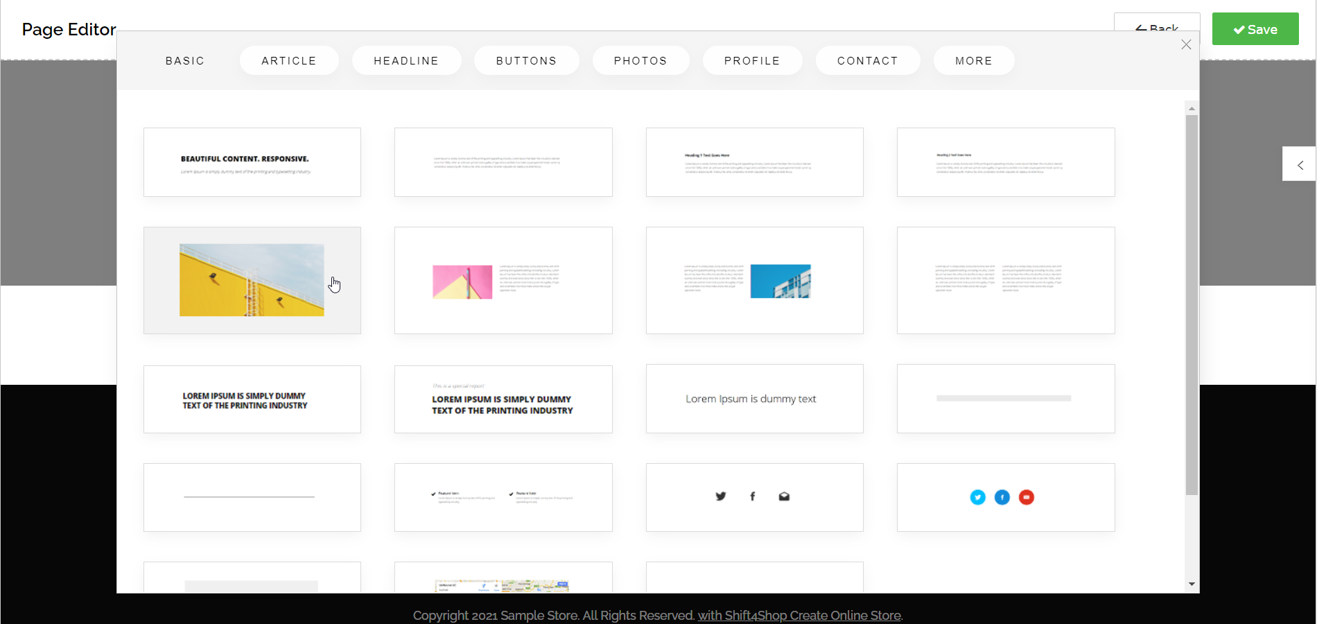 Using the Page Editor - Choosing Stock Image Block from Snippets Menu