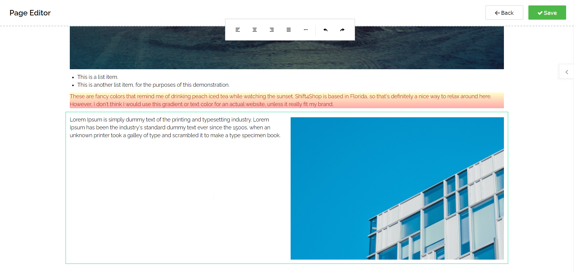 Using the Page Editor - New Snippet Highlighted
