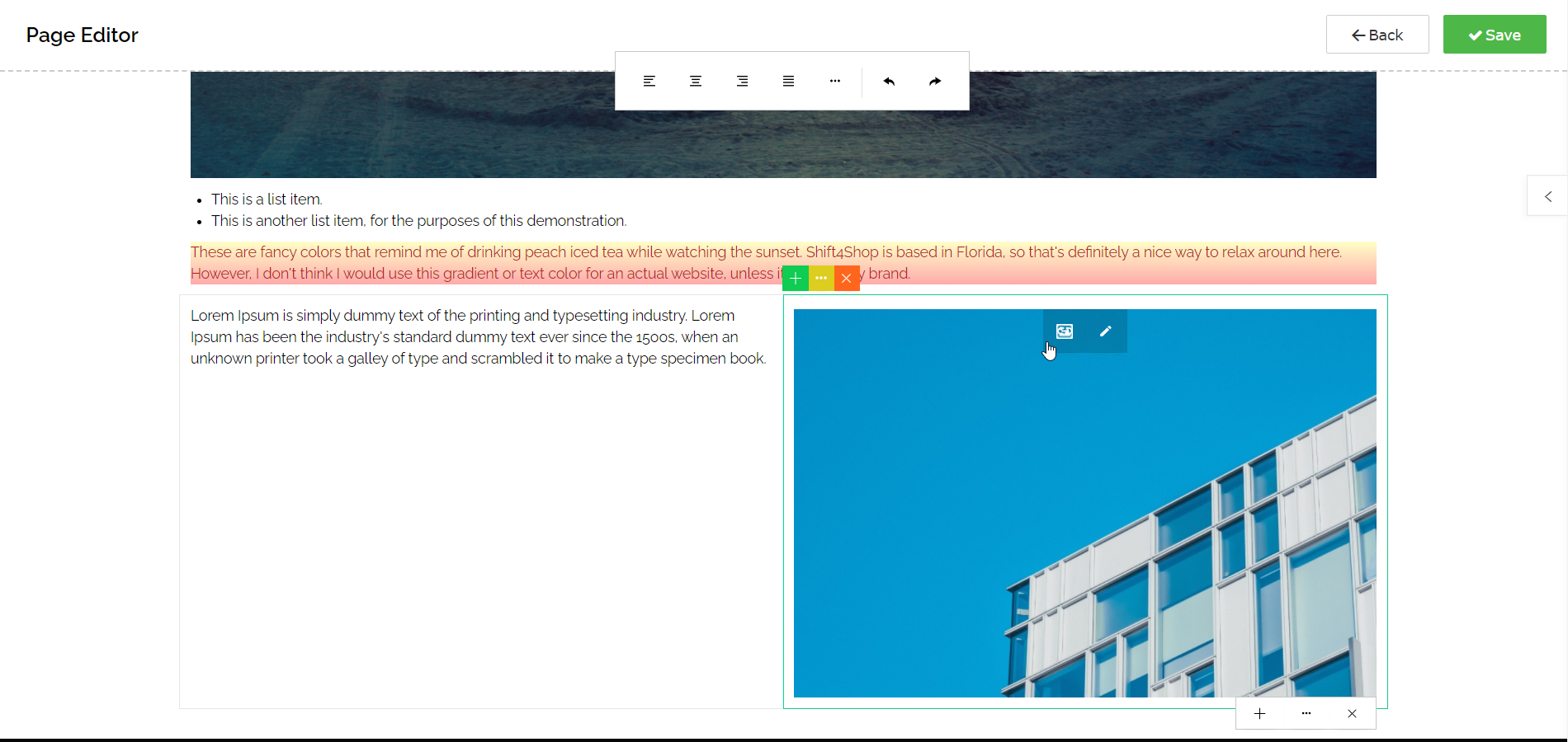 Using the Page Editor - Snippets Can Include Multiple Blocks