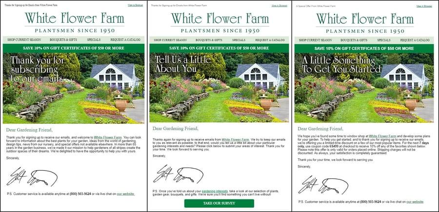 White Flower Farm Drip Campaign