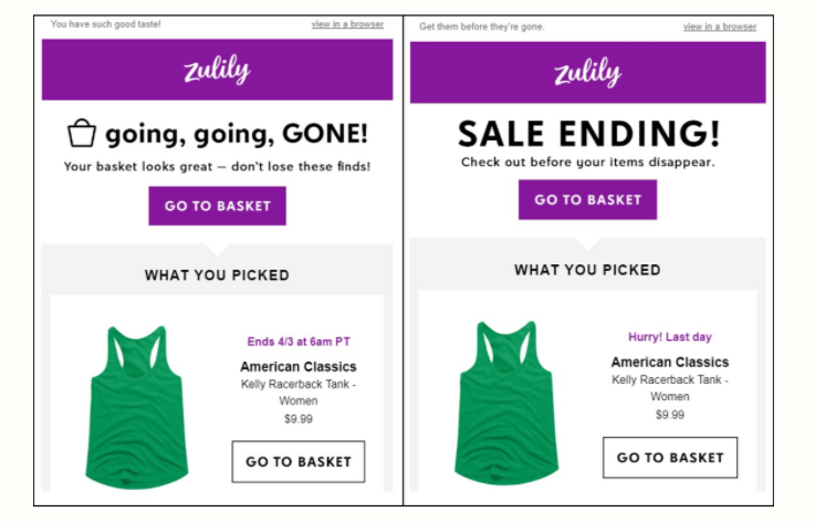 Zulily Abandoned Cart Email
