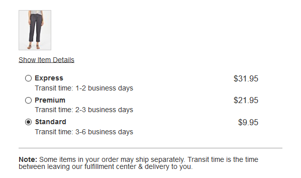 estimated shipping speeds