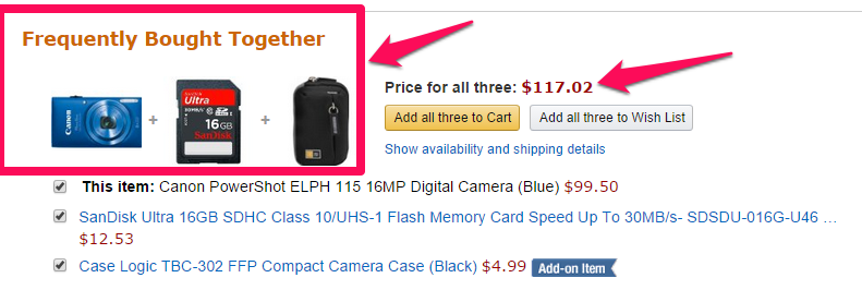 frequently bought together upsell products