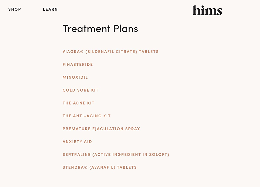hims treatment plans