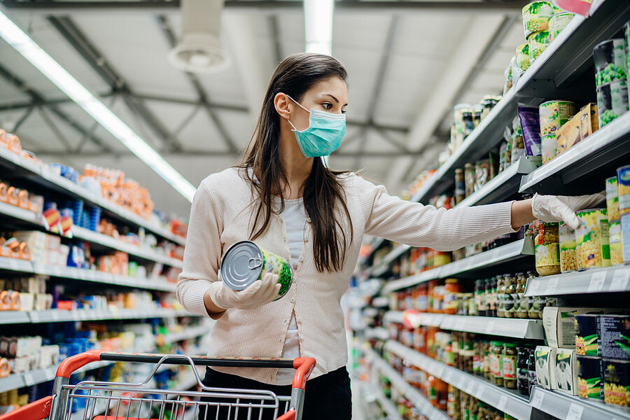 shopping in-store with face mask