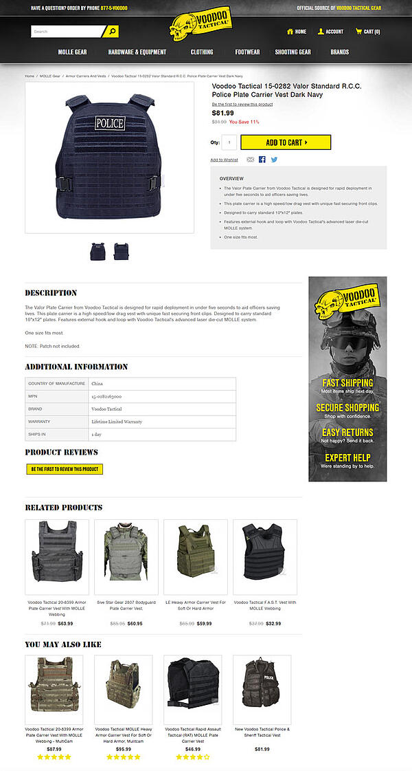 Voodoo Tactical Product Recommendations