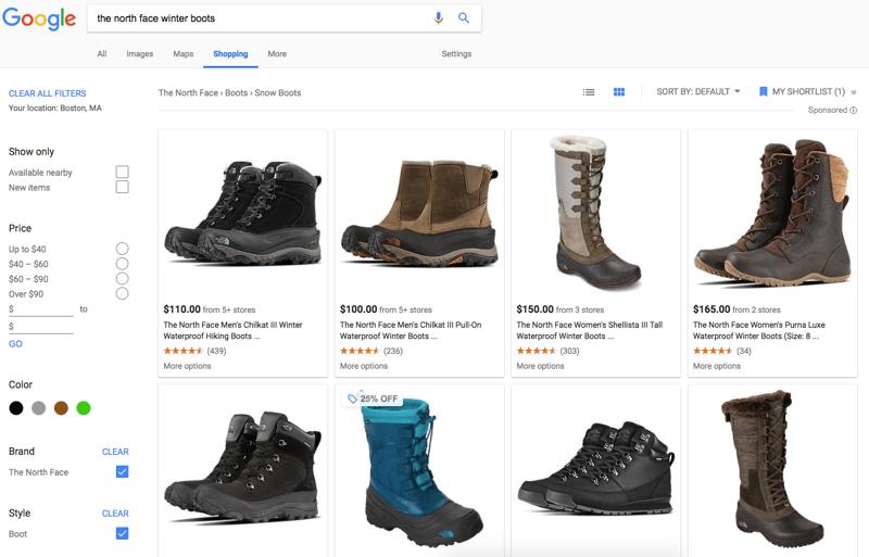 Google Shopping results tab