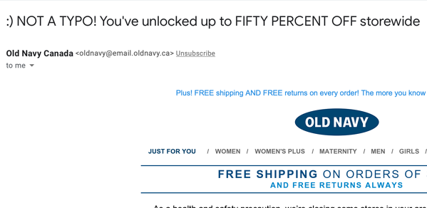 old navy email subject line